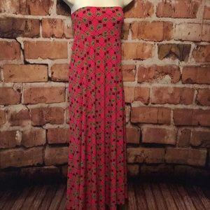 Lularoe 2X Maxi Skirt-Dress Pink Black Beige